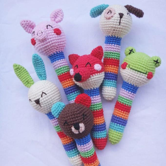 Crochet animal rattles free amigurumi pattern