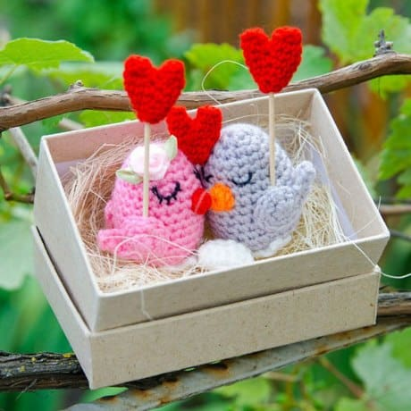 Crochet birds in love free amigurumi pattern