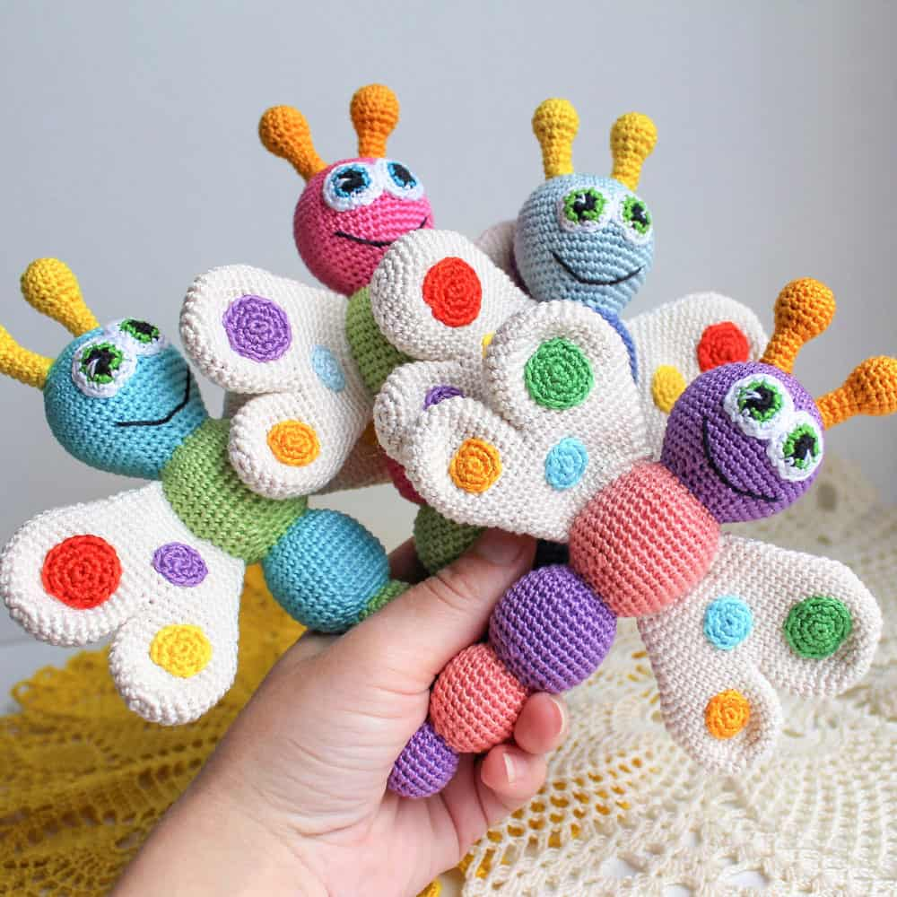 Crochet animal baby rattles patterns amigurumi today butterfly baby rattle crochet pattern bankloansurffo Choice Image
