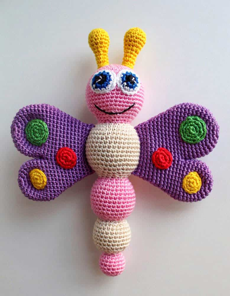 Crochet butterfly baby rattle - free pattern