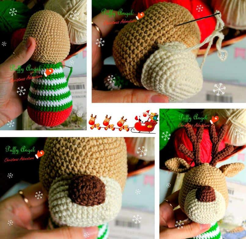 Christmas deer amigurumi pattern crochet tutorial