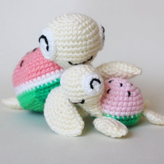Free Amigurumi Patterns Online : Watermelon turtles amigurumi patterns - Amigurumi Today