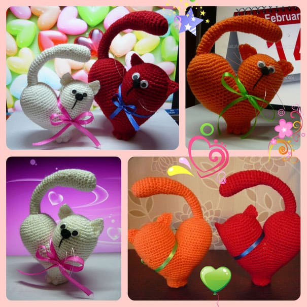 Valentine cat crochet pattern
