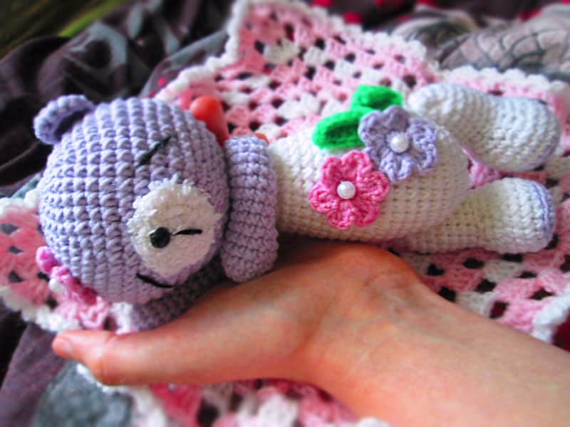 Sleeping teddy bear crochet pattern