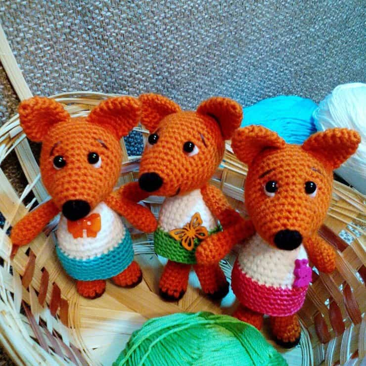 Tiny fox in dress crochet pattern