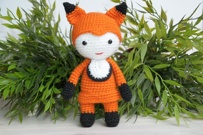Amigurumi doll in fox costume crochet pattern