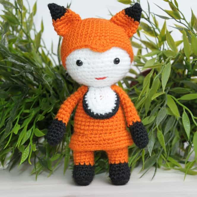 Amigurumi doll in fox costume - free crochet pattern