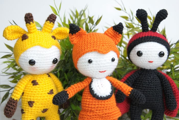Amigurumi dolls in animal costumes - free crochet patterns