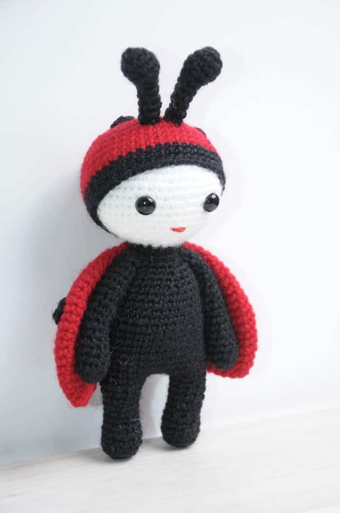 Crochet doll in ladybug costume
