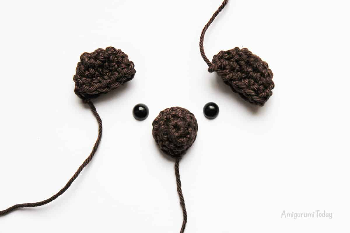 Amigurumi creamy choco bear crochet pattern - ears and nose