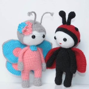 Amigurumi doll in butterfly costume - free crochet pattern