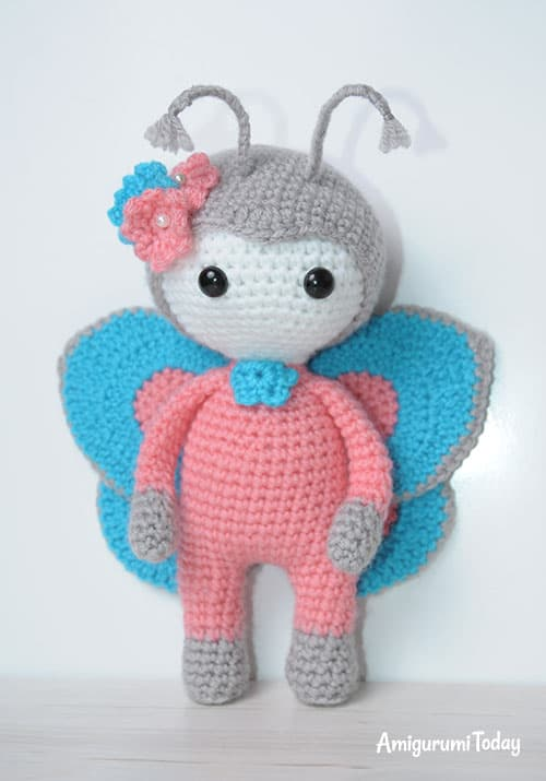 Amigurumi doll in butterfly costume - step-by-step pattern