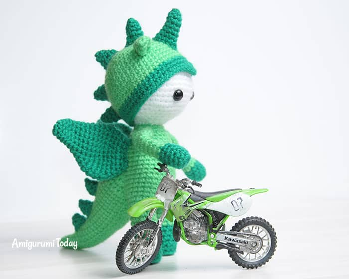Amigurumi doll in dragon costume