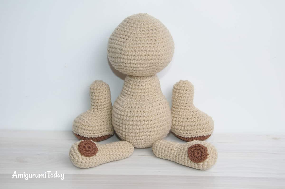 Amigurumi honey teddy bears - free crochet patterns - assembly