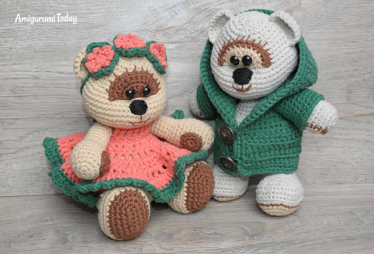 Honey teddy bears in love - free amigurumi pattern