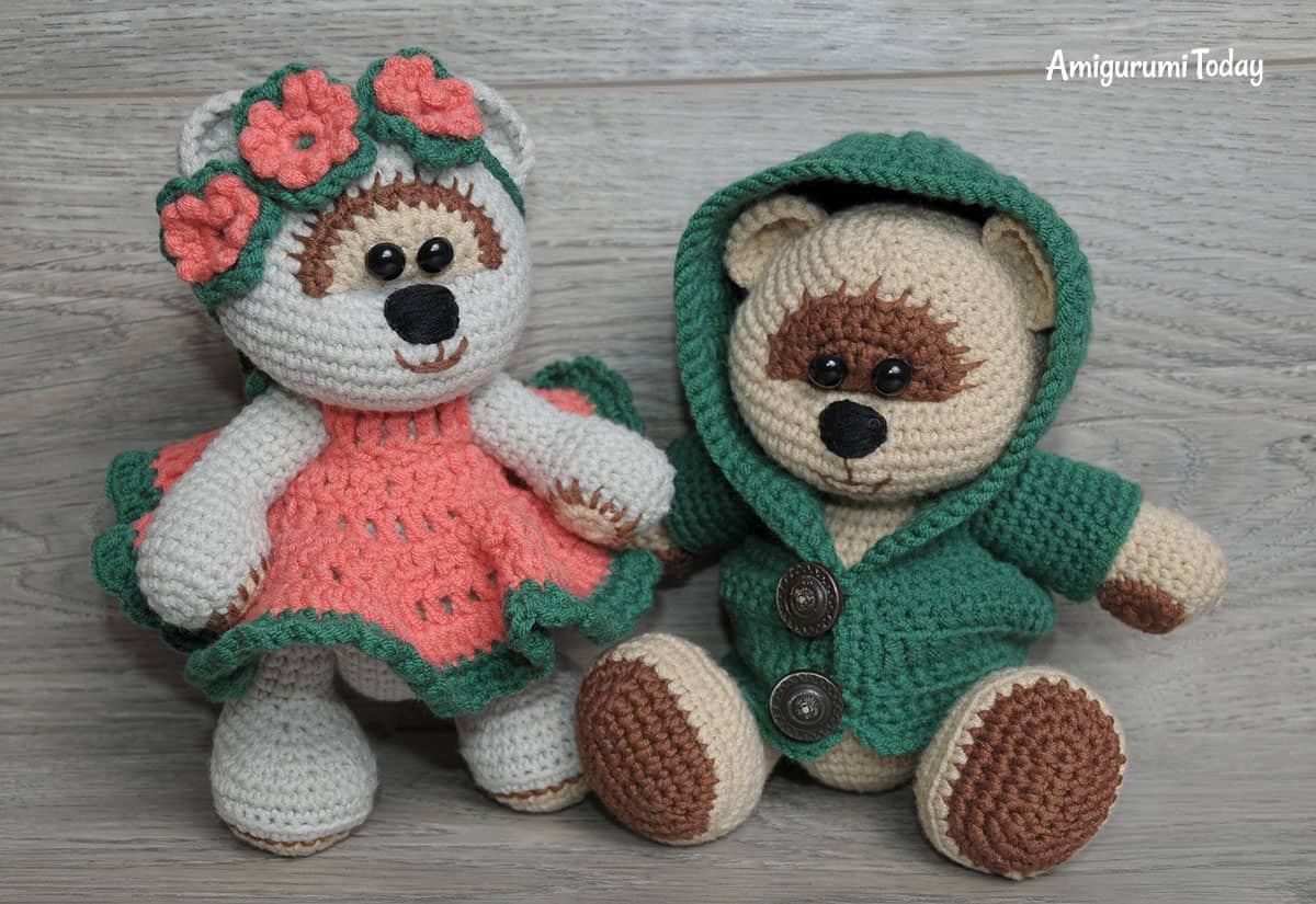 Honey teddy bears in love - amigurumi pattern