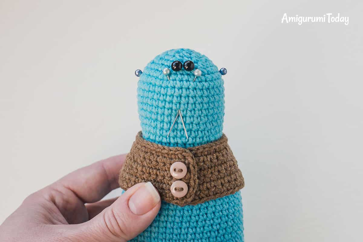 Amigurumi bunny in vest - embroidering nose