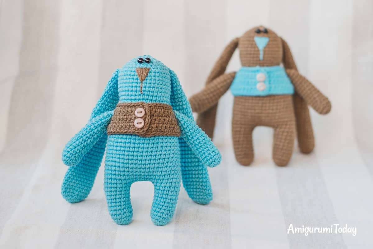 Amigurumi bunny twins in vests - Find FREE PATTERN on Amigurumi Today