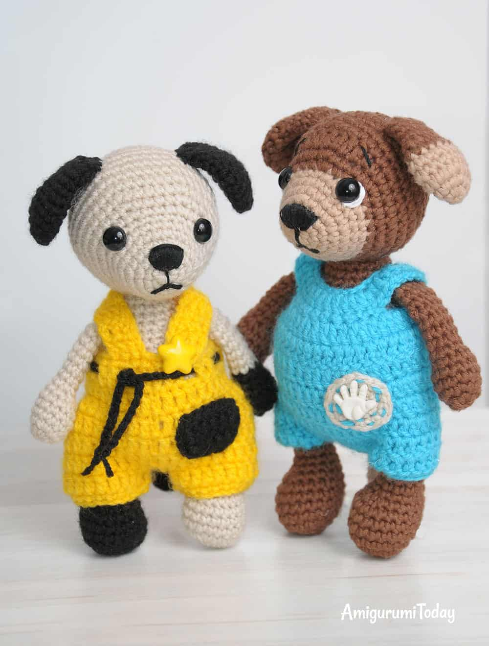 Tommy the Dog in overalls - crochet pattern