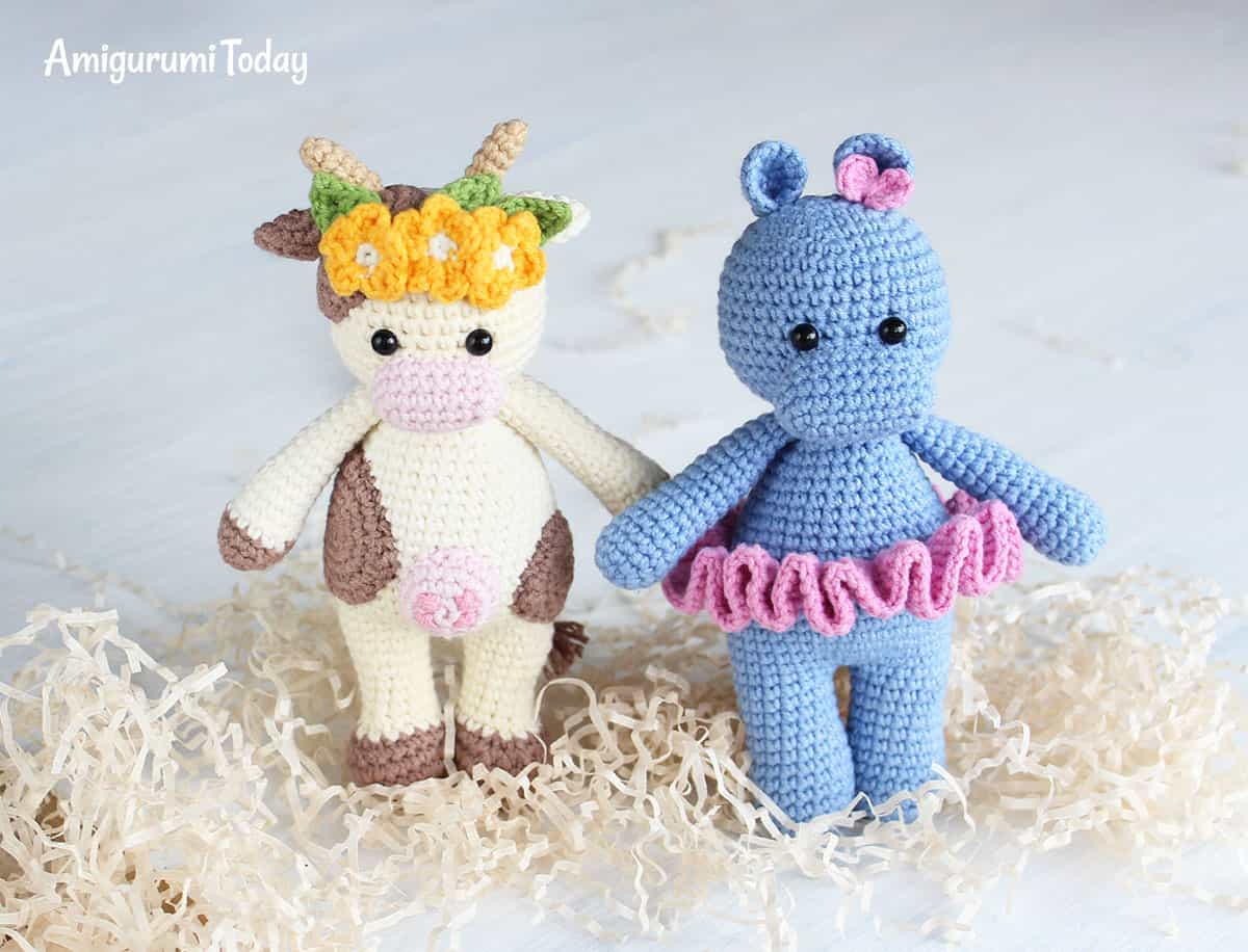 Amigurumi Cuddle Me Cow and Hippo - Free crochet patterns