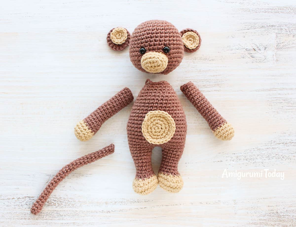 Cuddle Me Monkey Amigurumi Pattern - assembly