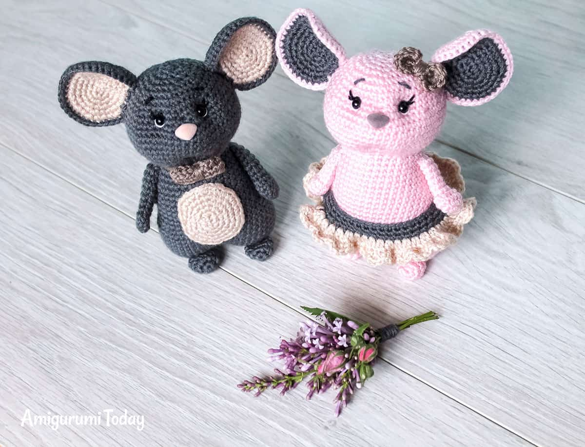 Crochet mouse couple - Free amigurumi pattern
