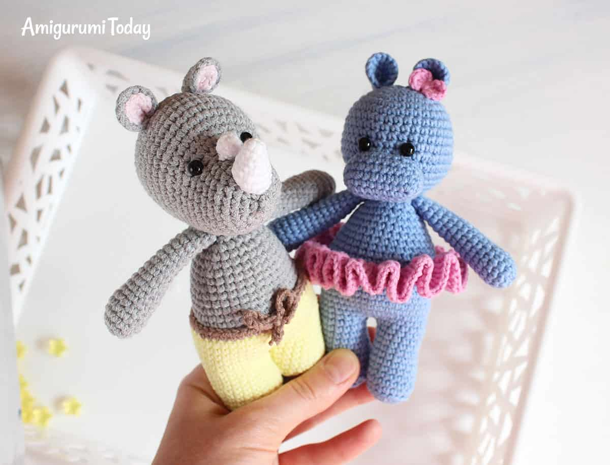 Cuddle Me Rhino and Hippo - Free amigurumi patterns by Amigurumi Today