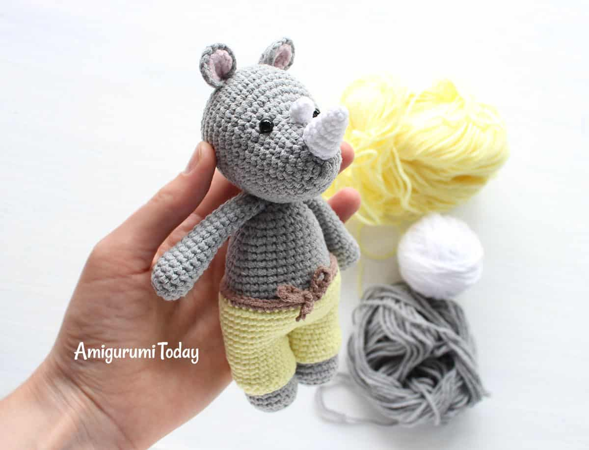 Cuddle Me Rhino crochet pattern by Amigurumi Today
