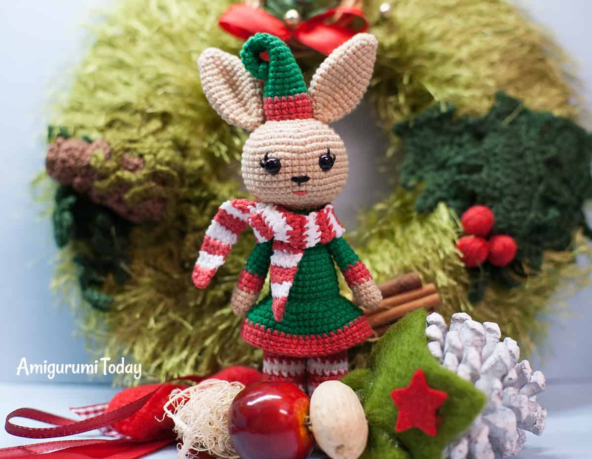 Christmas Bunny crochet pattern by Amigurumi Today
