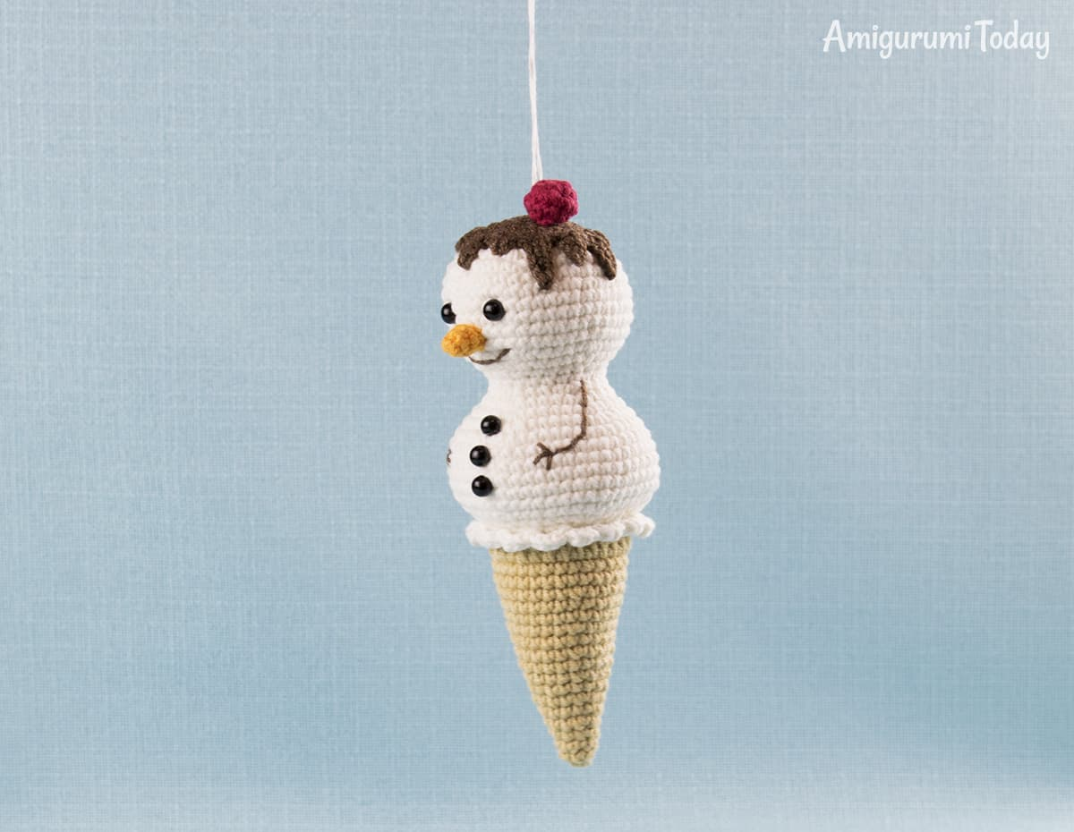 Amigurumi Ice Cream Snowman - Free crochet pattern by Amigurumi Today