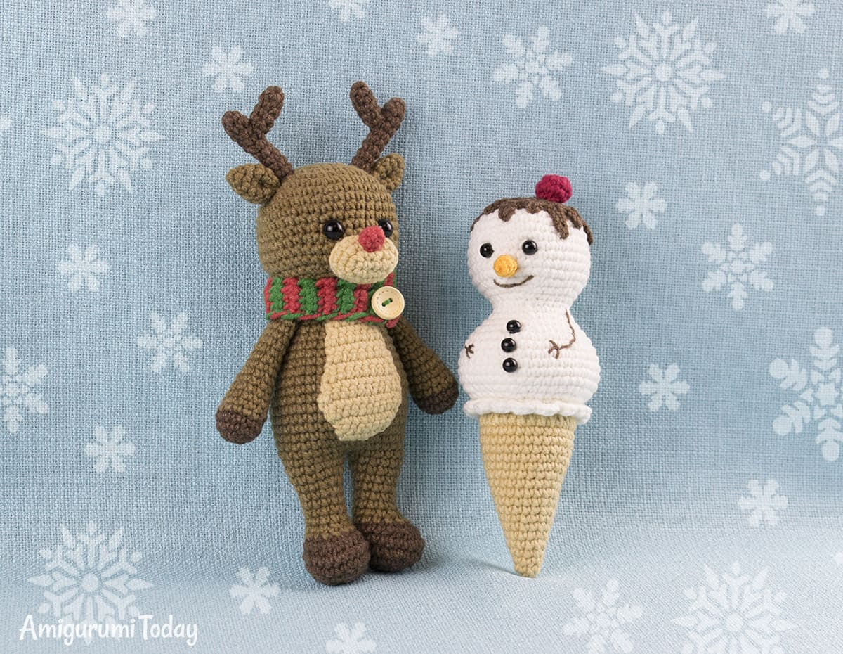 Ice Cream Snowman crochet pattern by Amigurumi Today
