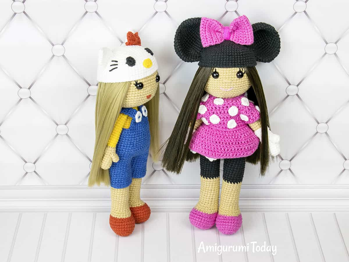 Amigurumi doll in Hello Kitty costume - Free crochet pattern