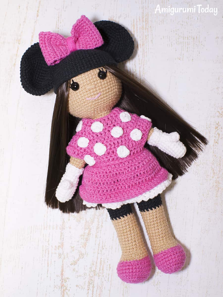 crochet doll in minnie mouse costume amigurumi today