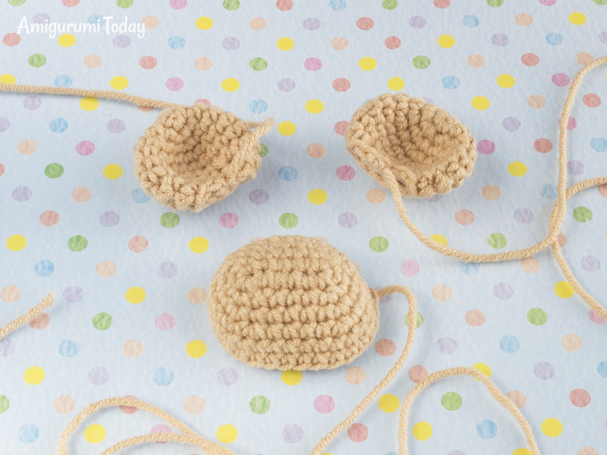 Monkey baby rattle crochet pattern - Muzzle and Ears