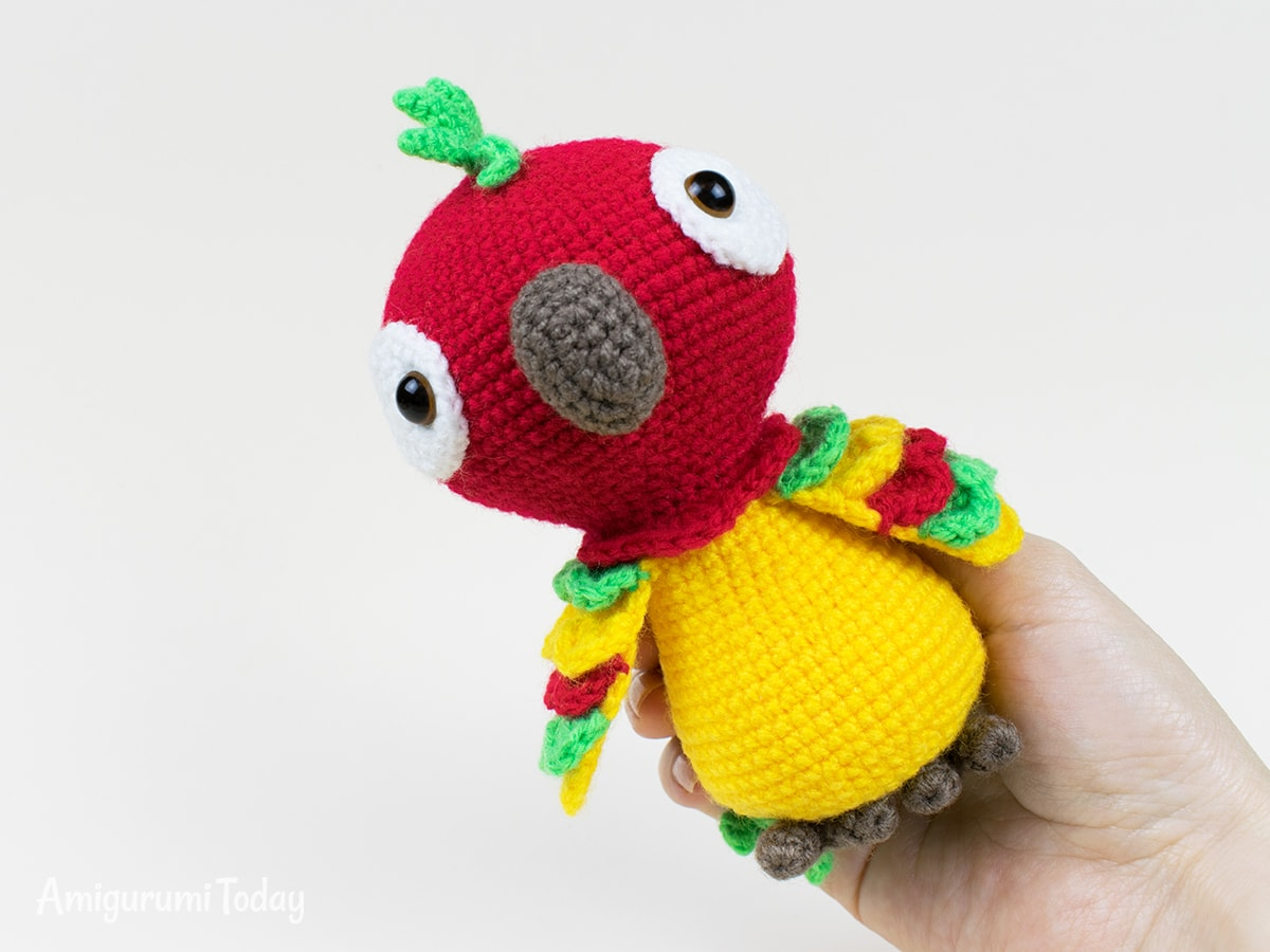 Pedro the Parrot amigurumi pattern designed by Amigurumi Today