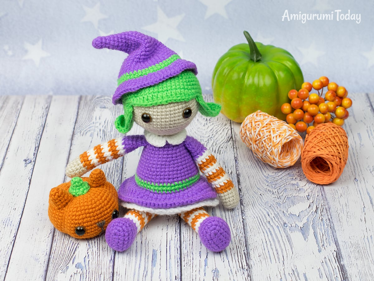 Halloween witch crochet pattern by Amigurumi Today