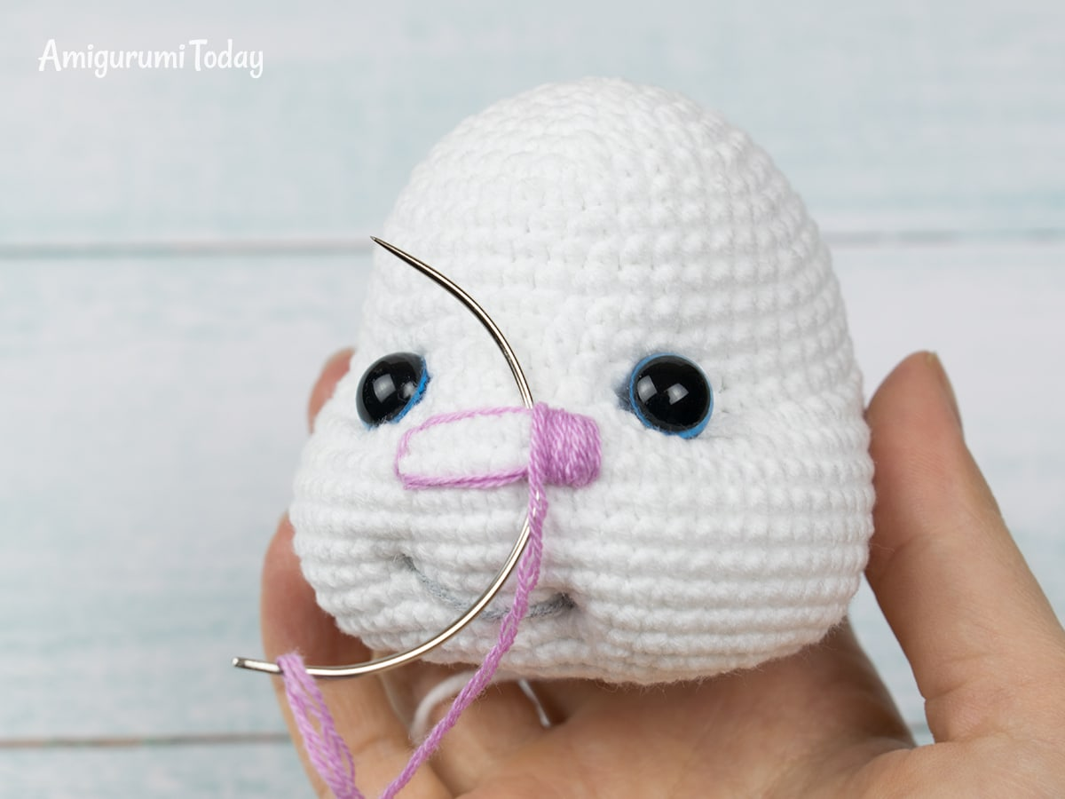 Pretty Bunny Amigurumi Pattern - Embroidering Nose