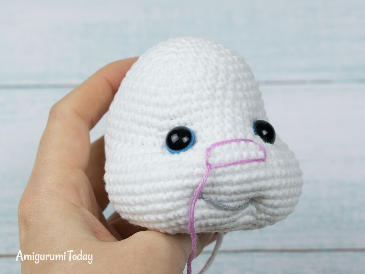 Pretty Bunny Crochet Pattern - Embroidering Nose