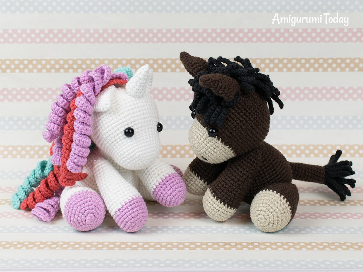 Baby donkey and unicorn crochet patterns by Amigurumi Today