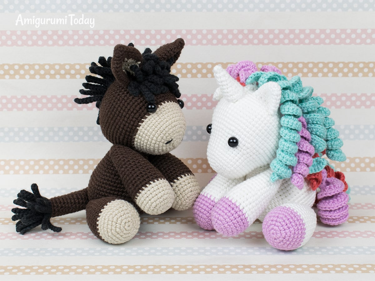 Free baby donkey and unicorn crochet patterns by Amigurumi Today