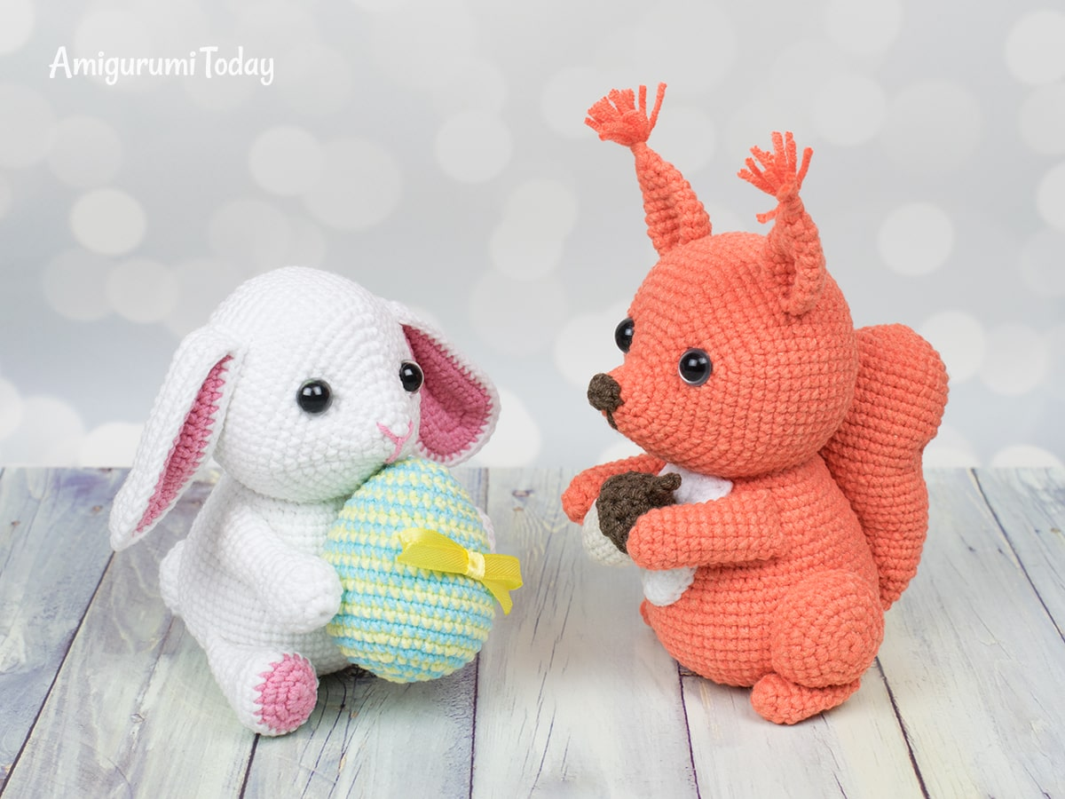 Squirrel and bunny crochet patterns by Amigurumi Today