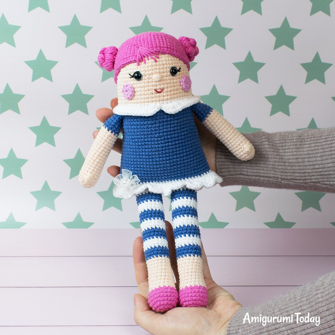 Crocheted rag doll pattern by Amigurumi Today