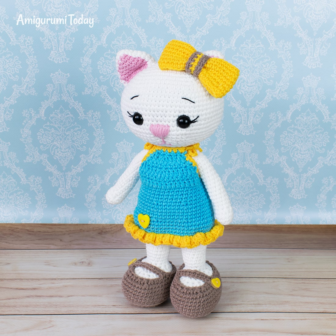 Amigurumi cat doll in sundress crochet pattern by Amigurumi Today