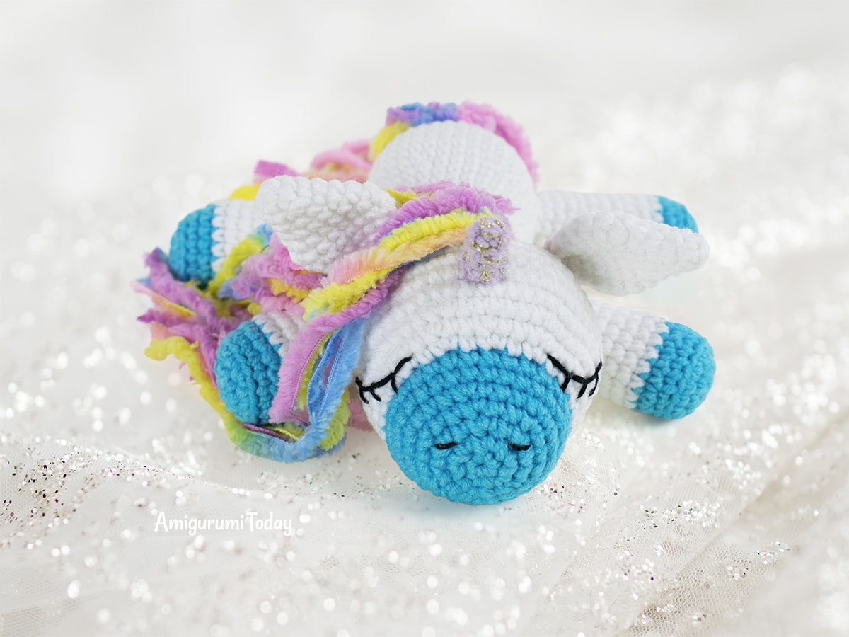 Free sleeping unicorn pony crochet pattern designed by Amigurumi Today