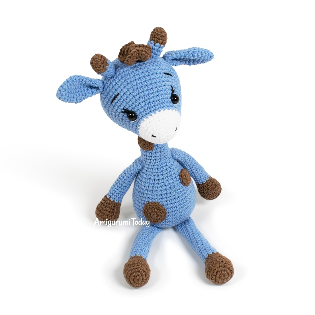 Free Blue Giraffe amigurumi pattern designed by Amigurumi Today