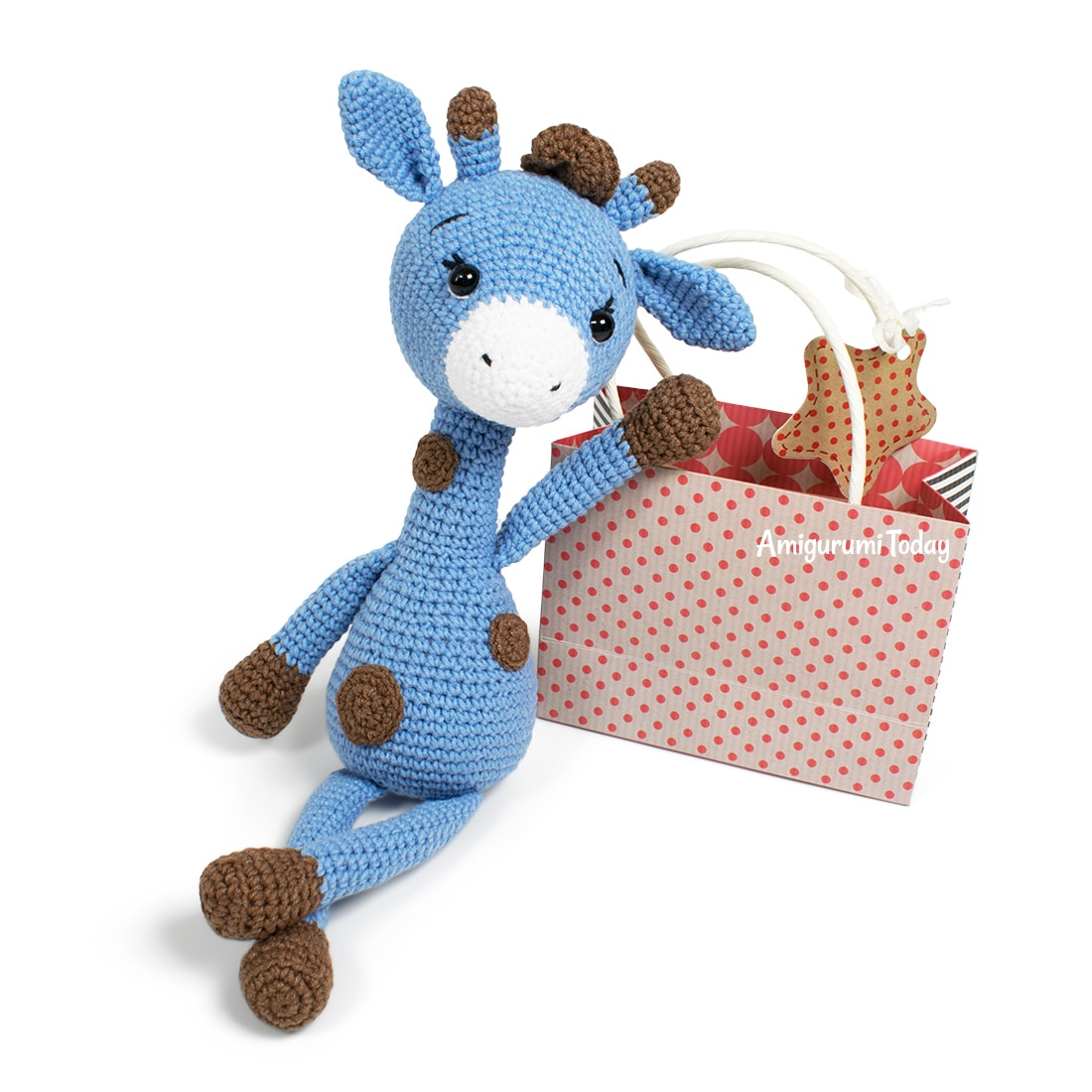 Free crochet Blue Giraffe amigurumi pattern designed by Amigurumi Today