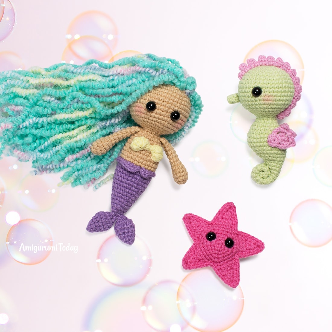 Free little mermaid crochet pattern by Amigurumi Today