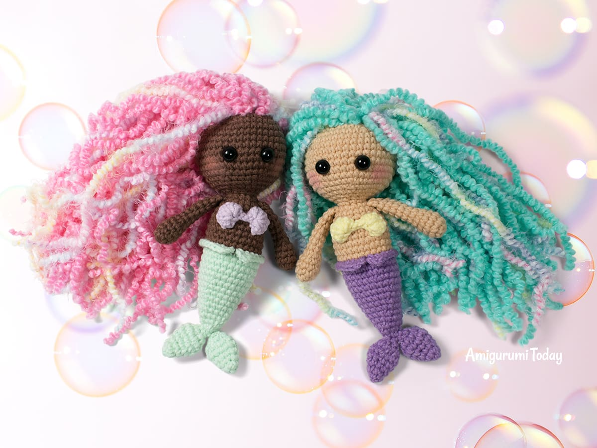 Free little mermaid crochet pattern designed by Amigurumi Today