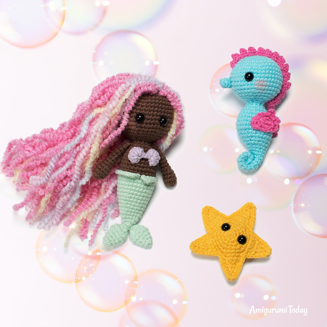 Little mermaid crochet pattern by Amigurumi Today