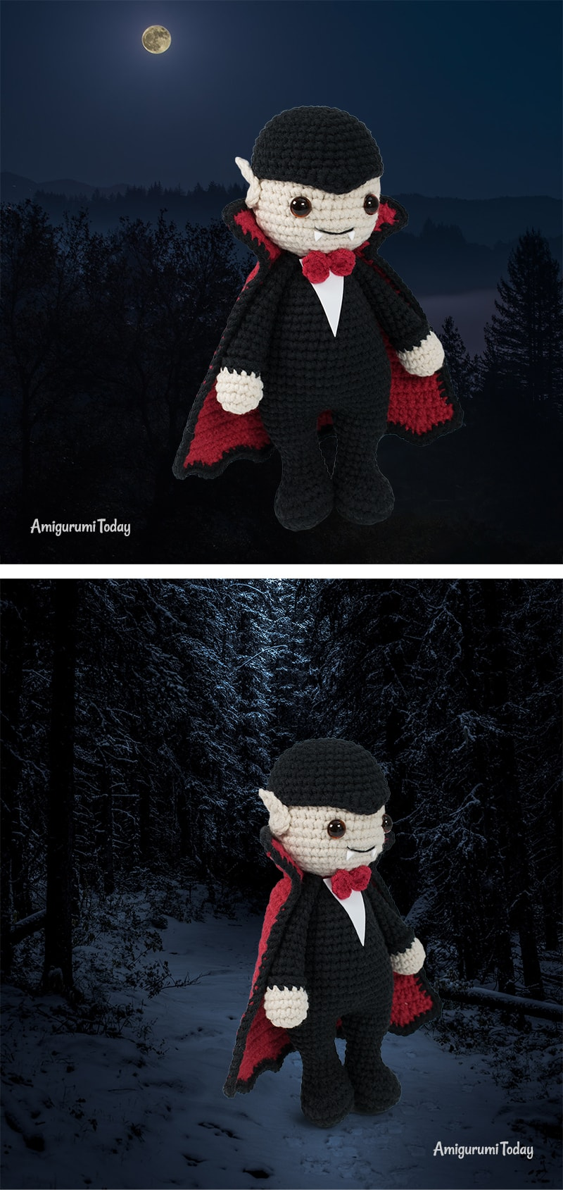 Free Halloween Cuddle Me Vampire crochet pattern designed by Amigurumi Today